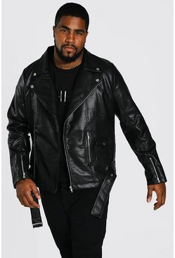 Black Plus Size Faux Leather Biker Jacket