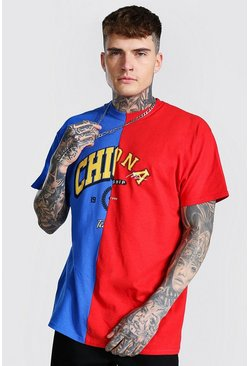 Cobalt blue Oversized Chicago Arizona Spliced T-shirt