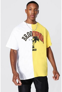 White Oversized Brooklyn Arizona Spliced T-shirt