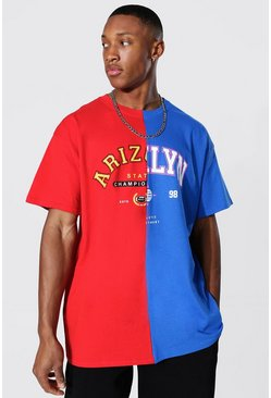 Oversized Arizona Brklyn Spliced T-shirt, Red rot