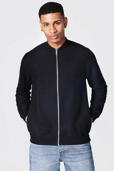 Black Jersey Twill Bomber Jacket