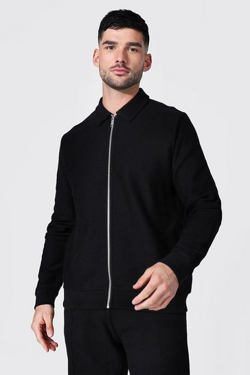 Black Jersey Twill Harrington Jacket