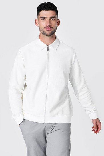 Ecru white Jersey Twill Harrington Jacket