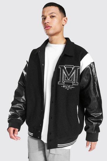 Black Tall Om Harrington Varsity Jacket