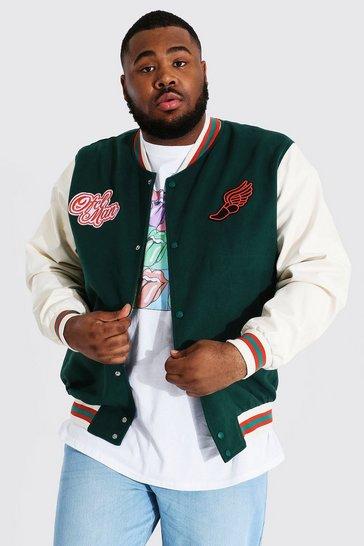 Teal green Plus Melton Homme Varsity Bomber Jacket