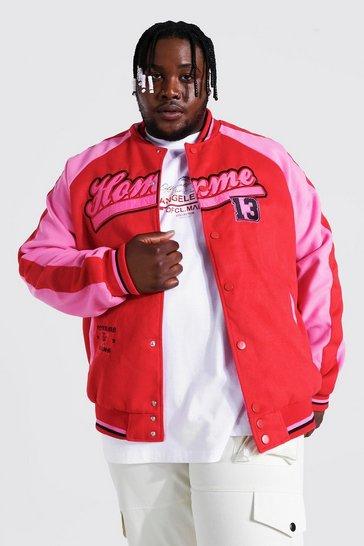 Red Plus Homme Raglan Varsity Bomber Jacket