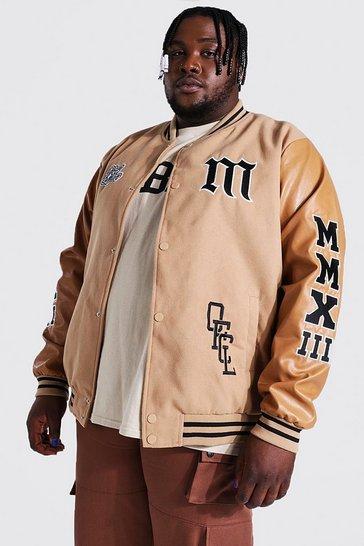 Stone beige Plus Mmxii Melton Varsity Bomber Jacket