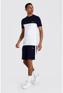 Navy Tall Muscle Fit Colour Block T-shirt & Shorts