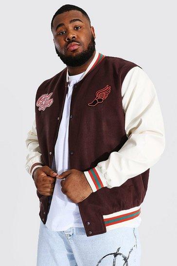Chocolate brown Plus Melton Homme Varsity Bomber Jacket