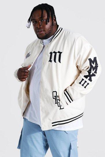 Ecru white Plus Mmxii Melton Varsity Bomber Jacket