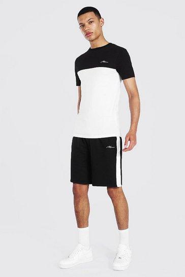 Black Tall Muscle Fit Colour Block T-shirt & Shorts