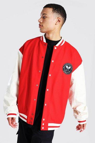Red Tall Oversized Tennis Badge Varsity Jacket