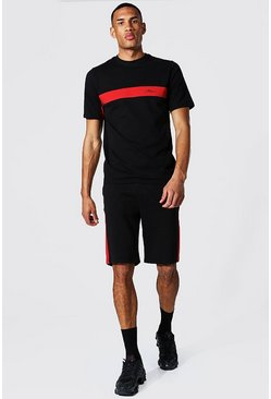 Black Tall Man Colour Block T-shirt & Short Set