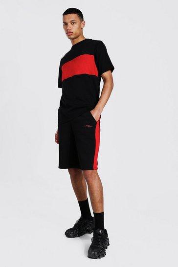 Black Tall Colour Block T-shirt And Short Set