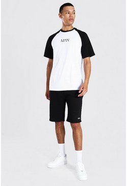 White Tall Man Dash Raglan T-shirt And Short Set