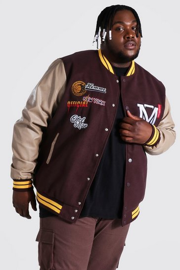 Chocolate brown Plus Official Homme Varsity Bomber Jacket