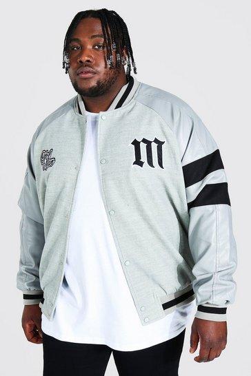 Grey Plus Ofcl Homme Varsity Bomber Jacket