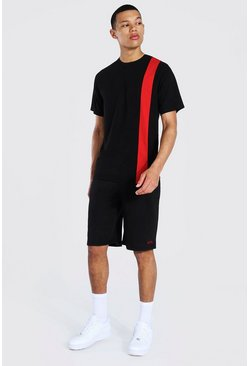 Tall - T-shirt color block à rayures verticales et short, Black noir