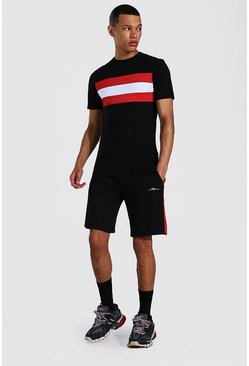 Black Tall Muscle Fit Colour Block T-shirt & Shorts