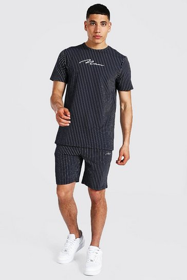 Navy Man Signature Jacquard Stripe T-shirt & Short