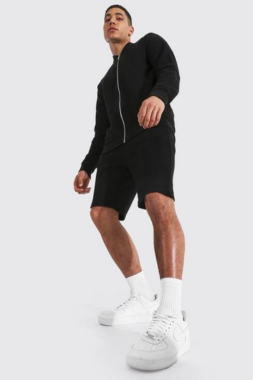 Black Jersey Twill Bomber & Short Set
