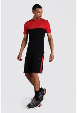 Tall - T-shirt ajusté color block et short, Red rouge