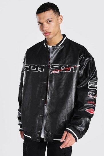 Black Tall Season Leather Look Varsity Jacket