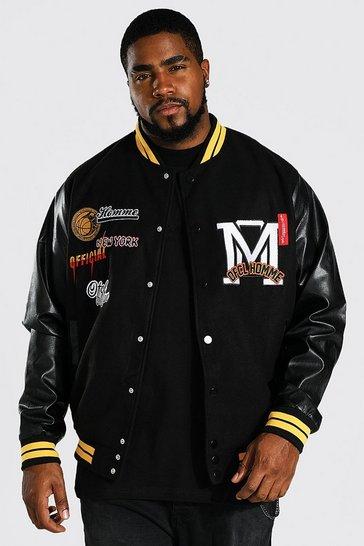 Black Plus Official Homme Varsity Bomber Jacket