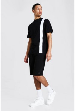 Black Tall Vertical Colour Block Tee & Short Set