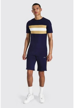 Tall - T-shirt color block ajusté et short, Navy marine