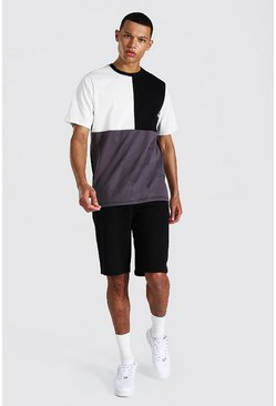 Tall Spliced Colour Block Tee & Short Set, Grey grau