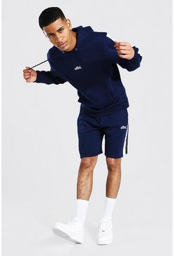 Navy Offcl Side Panel Short Hooded Tracksuit