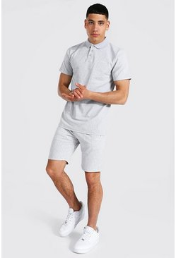 Grey grå Man Signature Randigt set med piké och shorts