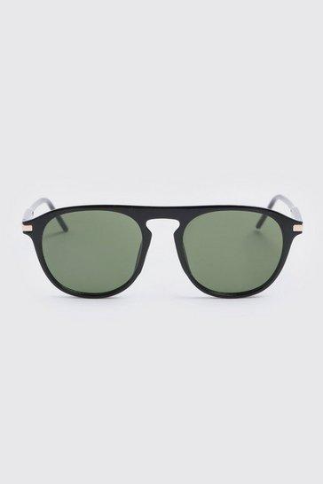 Black  Flat Top Round Sunglasses