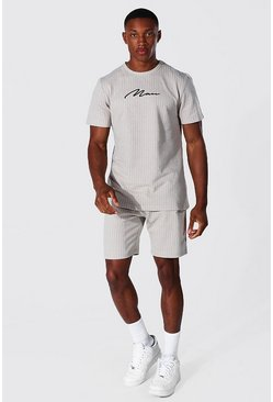 Stone beige Man Signature Jacquard Stripe T-shirt & Short