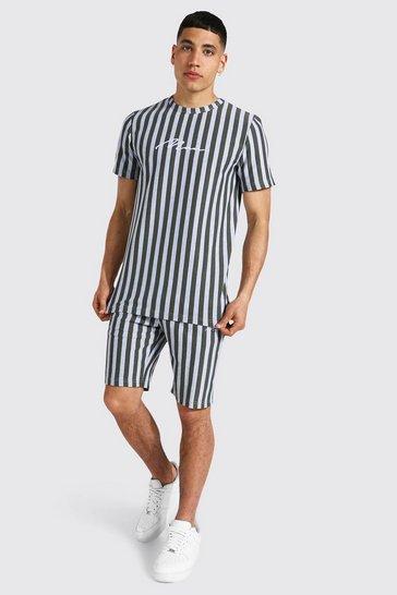 Khaki Man Signature Jacquard Stripe T-shirt & Short