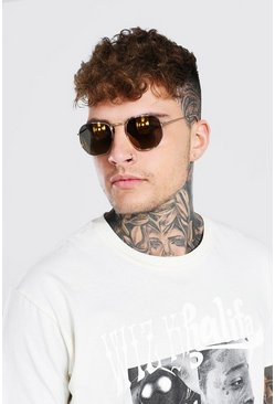 Gold metallic Hexagon Mirrored Sunglasses