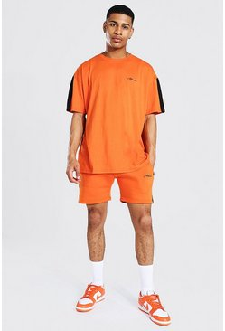 Orange Oversized Man Side Panel T-shirt & Short Set