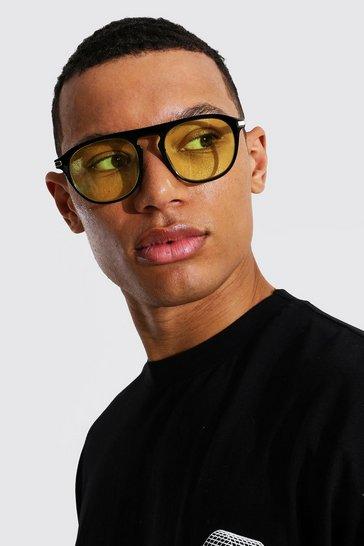 Yellow  Flat Top Round Sunglasses