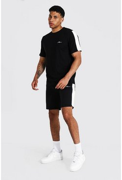 Black Man Signature Side Panel T-shirt & Short Set