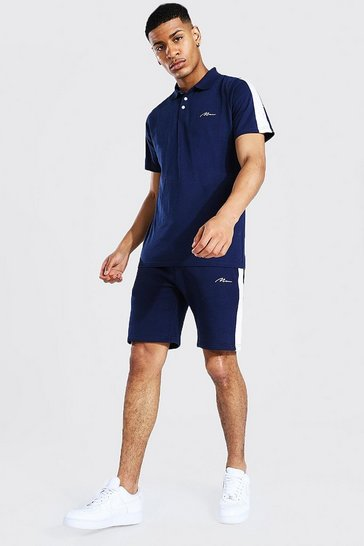 Navy Slim Man Side Panel Polo & Short Set