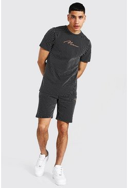 Black Man Signature Jacquard Stripe T-shirt & Short