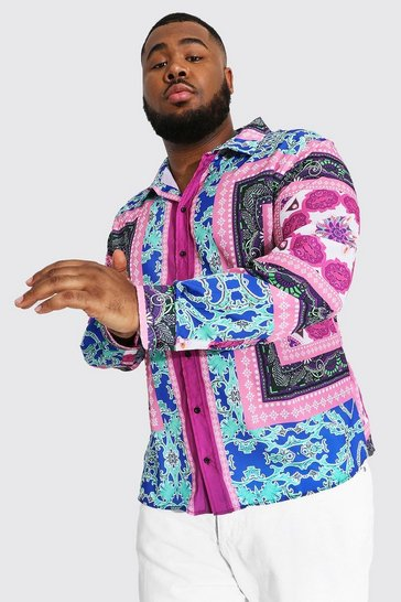 Pink Plus Size Long Sleeve Baroque Print Shirt