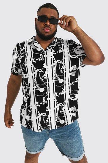 Black Plus Size Short Sleeve Chain Print Shirt