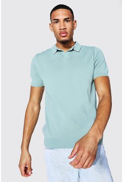 Sage green Tall Short Sleeve Revere Collar Knitted Polo