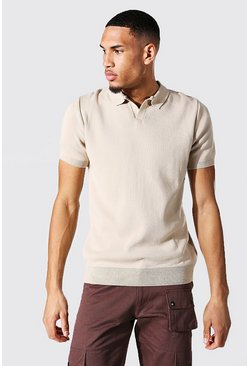 Stone beige Tall Short Sleeve Revere Collar Knitted Polo