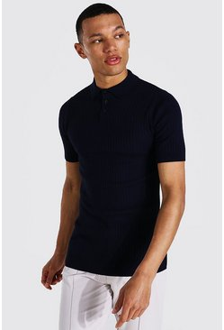 Navy Tall Muscle Fit Ribbed Knitted Polo
