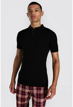 Tall Muscle Fit Ribbed Knitted Polo , Black schwarz