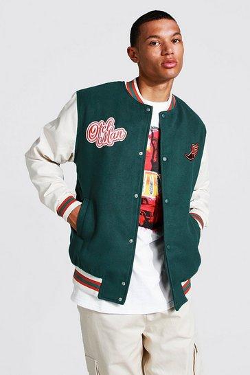 Teal green Tall Melton Homme Varsity Bomber Jacket