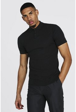 Tall Short Sleeve Knitted Polo , Black schwarz